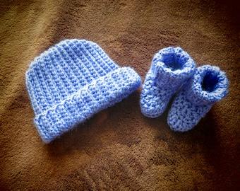 Infant Hat and Bootie Set- Lavender