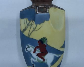 Nippon China Indian on Horseback Handpainted China Vase