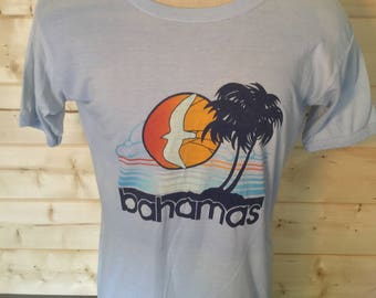 Vintage 1980's Bahamas Surfing Beach Colorful  T-Shirt 50/50  Thin Soft