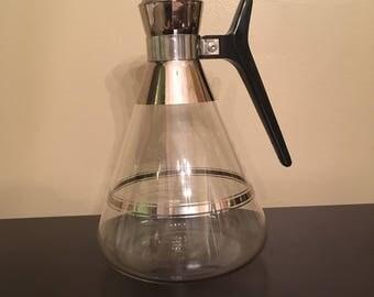 Vintage Midcentury Glass Coffee Carafe Silver Black