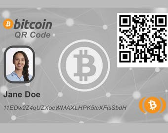 Custom Bitcoin ID Card with QR Code to Your BTC Wallet