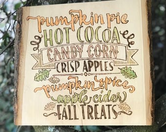 Fall themed woodburning with color