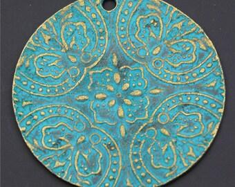 10pcs Antique Bronze Patina Flower Round Big Charms Pendant A2331