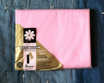 Vintage 1960's Pink Penney's Double Flat Sheet | NOS