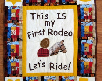 Little Cowboy Quilt,This IS My First Rodeo,Western Nursery Decor,Log Cabin Quilt,Personalized Horse Cowboy Baby Western Quilt,Boy ShowerGift