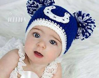 Crocheted INDIANAPOLIS COLTS hat cap beanie baby girl boy poms ears