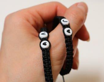 Couples bracelet, Set of Initials Bracelet, Knotted bracelet, Anniversary Bracelet, Personalized braided bracelet, His Hers Knotted bracelet