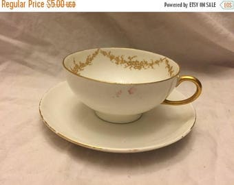 Limoges France Cup and saucer Gold trim