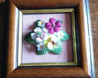 Fine English bone china flowers in wooden frame