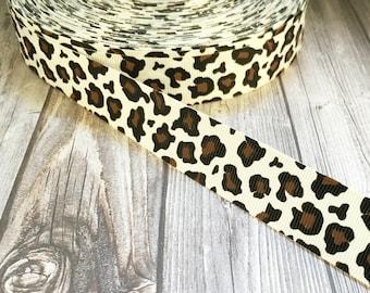 Leopard print ribbon - Leopard grosgrain - Animal print - DIY leopard bow - DIY leopard headband - Cat ribbon - Big kitty ribbon - Pretty