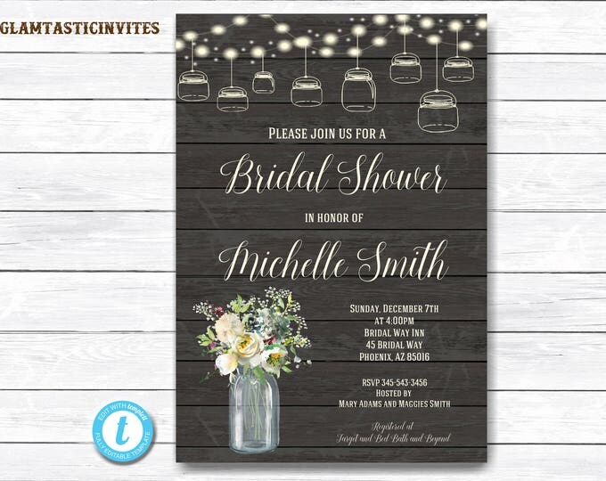Rustic Bridal Shower Invitation, Rustic Invitation, Country Shower invitation, Flower Invitation, Bridal Shower Invitation, Shower Template
