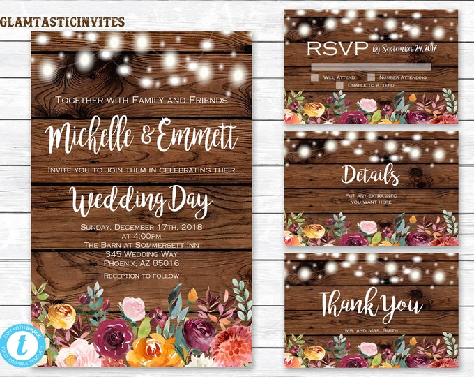 Rustic Wedding Invitation Template, Country Wedding Invitation, You Edit, Printable, Fall Wedding Template, Instant Download, Rustic