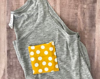 Gray Tank Top, Slit Tank Top, Mustard Polka Dot Pocket