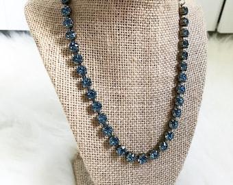 Swarovski Crystal Necklace in Denim