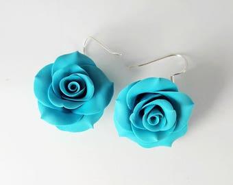 Polymer Clay Earrings. Rose Earrings. Blue Roses. Flower Earrings. Dangle Earrings. Gift for Her. Handmade Jewelry