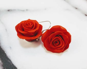 Polymer Clay Rose Earrings. Clay Earrings. Red Roses. Flower Earrings. Dangle Earrings. Gift for Her. Handmade Jewelry