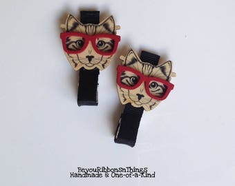 Cats w/Red Glasses | Hair Clips for Girls | Toddler Barrette | Kids Hair Accessories | Black Grosgrain Ribbon | No Slip Grip