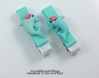 Splashy Dolphins | Hair Clips for Girls | Toddler Barrette | Kids Hair Accessories | Aqua Grosgrain Ribbon | No Slip Grip | Summer
