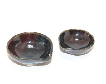 Black stacking mini food prep bowls, ceramic bowls, teabag dish, ring dish, kitchen prep bowls,SierraAvisPottery