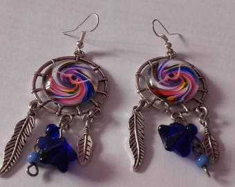 earrings with silver charms pendant