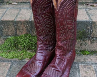 Sancho Cowboy Boots /989/ Size 10 1/2 D / Made in Spain/ Burgundy