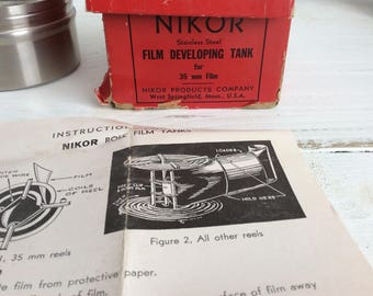 Nikor 35mm Film Developing Tank with Reel with Instructions and Red Box Developing & Darkroom Equipment