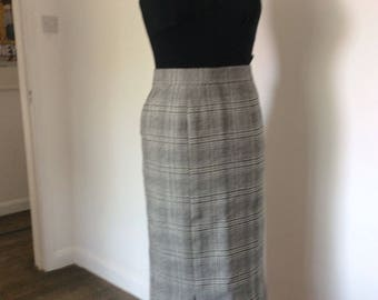 80s Skirt - Vintage 1980s 1950s Style Black & White Check Pencil Wiggle Skirt Pure Wool