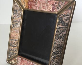 Vintage Picture Frame--Unique Brass Frame--2'' x 3'' Picture Frame--Industrial Decor Frame--Arts and Crafts Picture Frame--Tabletop Frame