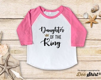 Daughter of King; Christian Shirt; Cute Baptism Tee; Love Jesus T-Shirt; Sunday School Kids Church Outfit, Cool Christmas Holiday Gift Idea