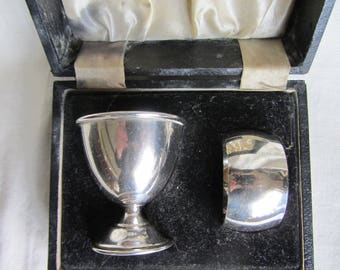 Vintage English silver plate egg cup and napkin ring. Boxed EPNS eggcup set. Christening gift, baby shower, baptism gift