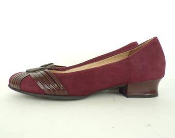 Vintage Clarks Burgundy Suede Heels 6.5M, Artisan Collection Clarks, Burgundy Leather, Leather Heels, Low Heel Pumps, Comfort Heels, Classic