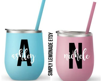 Personalized Steel Wine Cups, Personalized Gifts, Bachelorette Gift, Wedding Favor,  Bridal Shower, Girls Night, Birthday Gift