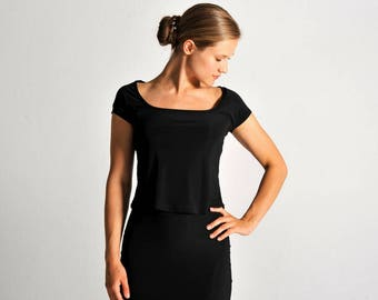 PAULA black top with square neck - sizes XS/S/M
