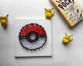 Mini Pokeball String Art Home Decor- Pokemon Bedroom Wall Art or Pokemon Gift