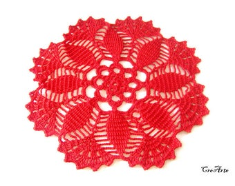 Red Crochet Doily, Small Doily, Handmade Doily, Crochet favors, Round Doily, Table decorations, Centrino piccolo, Bomboniera