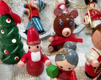 Lot of Vintage Wooden Christmas Ornaments