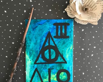 Harry Potter Deathly Hallow Watercolor Wall Art 4x6