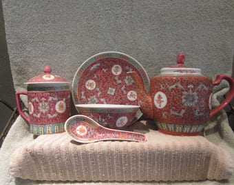 Mun Shou Longevity Chinese 7 Pc Porcelain Excellent Tea  Pot and Lid, Serving Dish, Mug/ lid ,Bowl and Spoon  with Red  Markings