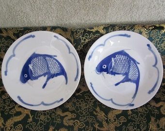 Chinese Cobalt Blue Koi Fish Hand Painted Saucers Plates Vtg Chinese Markings