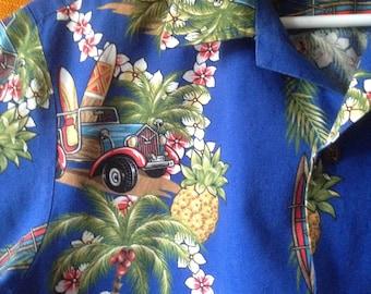 vintage 80's RJC hawaiian aloha shirt tiki car woody surfboard mid century modern hawaii for men
