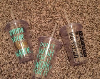 inspirational workout water tumblers
