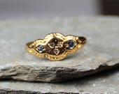Antique Victorian 18CT Gold Sapphire And Diamond Ring