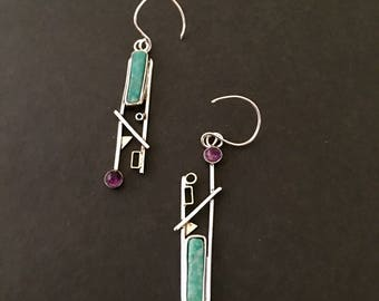 Wearable Art Amazonite/amethyst earrings