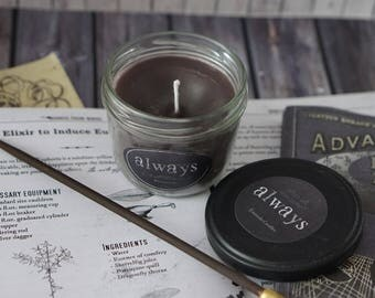 SALE! / Always 7,7 oz / Bookish Candle / inspired from Harry Potter / browngrey