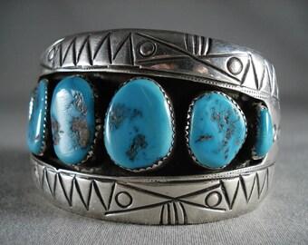Wide Vintage Navajo 'Mountain' Silver Bracelet Old