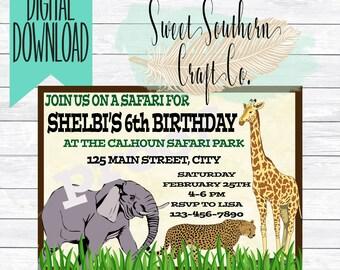 Zoo Birthday, Petting Zoo,Safari Birthday Party Invitation,Elephant Cheetah Giraffe Kids Birthday Invitation, Printable, 5X7 DIY