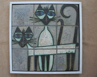 Tile panel by Paul Vincken of Two Cats