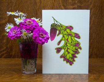 Botanical greeting card, handmade card, oak leaf, seed, watercolor print, folk art, art print, baby card, gift for gardener, tree