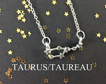 Zodiac Necklace - Astrology Necklace - Taurus Necklace - Constellation Necklace - Taurus Jewelry - Birthday Gift - Zodiac Symbol - BFF Gift