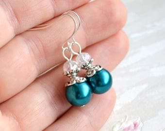 Teal Bridesmaid earrings Teal earrings Teal jewelry Teal Bridesmaid gift set Will You be my bridesmaid proposal Teal Wedding jewelry